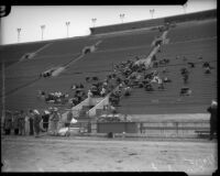 Crowd watches USC versus UCLA rugby game at the Coliseum, Los Angeles, 1935