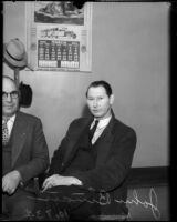 John Binan sits next to Captain Wallis while being questioned over the homicide of Louise Appier, Los Angeles, 1935