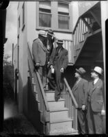 John Binan and officers at the homicide crime scene of Louise Appier, Los Angeles, 1935