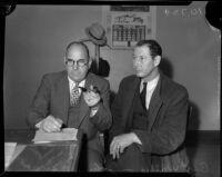 Captain Bert Wallis questions John Binan over the homicide of Louise Appier, Los Angeles, 1935