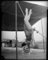 Circus performer Ruby Woods poses beneath the big top, Los Angeles, 1935