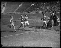USC and Berkeley track members compete in an 880 yard race at Memorial Coliseum, Los Angeles, 1935