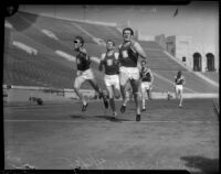 USC and Berkeley track members race at Memorial Coliseum, Los Angeles, 1935