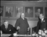 Col. Henry L. Roosevelt lifts his glass at a luncheon at the Chamber of Commerce, Los Angeles, 1935