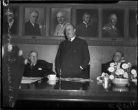 Col. Henry L. Roosevelt speaks at a luncheon at the Chamber of Commerce, Los Angeles, 1935