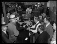 Patrons gamble at a chain letter racket shop, Los Angeles, 1935