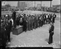 Bonus Army convenes for a march, Los Angeles, 1935