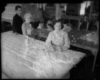 Women make mattresses through SERA program, Los Angeles, 1935