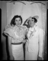 Loretta Ennis and Margaret Howden pose at a Miss America event, Los Angeles, 1935