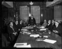 New members of the Board of Education discuss issues, Los Angeles, 1935