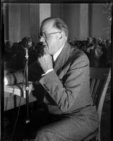Senator Sanborn Young speaking, Los Angeles, 1935