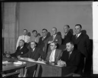 State Senate committee assembles to discuss liquor licenses, Los Angeles, 1935