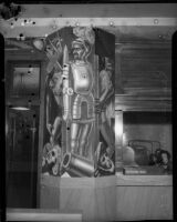 Mural panel with a conquistador by artist Leo Katz at the Frank Wiggins Trade School, Los Angeles, 1935