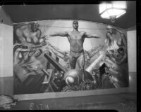 """Youth Arisen"" mural panel by Leo Katz at the Frank Wiggins Trade School, Los Angeles, 1935"