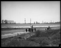 Race car driver Rex Mays competes at the Legion Ascot speedway, Los Angeles, 1935