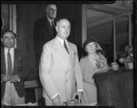 Postmaster General James A. Farley speaks at a convention for the California Federation of Democratic Women's Clubs, Los Angeles, 1935