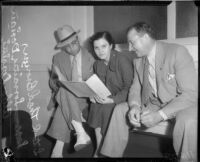 Attempted murder suspect Lorraine Hewitt sits between detectives Thad Brown and Aldo Corsini, Los Angeles, 1935
