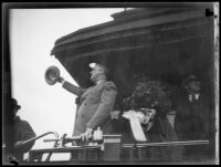 President Franklin D. Roosevelt greets the crowd from his train at Central Station, Los Angeles, October 1, 1935
