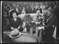 President Franklin D. Roosevelt speaks to reporters at the Los Angeles Memorial Coliseum, October 1, 1935