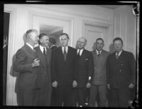 Advisor Harry Hopkins and others during President Franklin D. Roosevelt's visit to Los Angeles, October 1, 1935