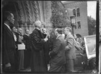 President Franklin D. Roosevelt awarded an honorary doctor of law degree from the University of Southern California, October 1, 1935