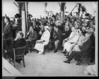 President Franklin D. Roosevelt, Eleanor Roosevelt, and other dignitaries at unknown event, circa October 1, 1935