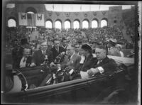 President Franklin D. Roosevelt, accompanied by First Lady Eleanor Roosevelt and Mayor Frank L. Shaw, addresses the crowd at Los Angeles Memorial Coliseum, October 1, 1935