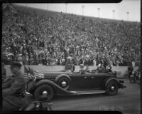 President Franklin D. Roosevelt's motorcade arrives at Los Angeles Memorial Coliseum, October 1, 1935