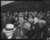 President Franklin D. Roosevelt, Eleanor Roosevelt, and Mayor Frank L. Shaw at start of motorcade, Central Station, Los Angeles, October 1, 1935