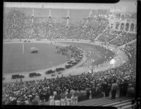 President Franklin D. Roosevelt's motorcade at Los Angeles Memorial Coliseum, October 1, 1935