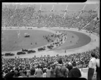 President Franklin D. Roosevelt arrives with motorcade at Los Angeles Memorial Coliseum, October 1, 1935