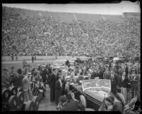 President Franklin D. Roosevelt speaks to the crowd at Los Angeles Memorial Coliseum, October 1, 1935
