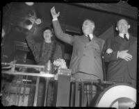 President and Mrs. Franklin D. Roosevelt arrive on train in Los Angeles, October 1, 1935