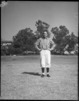 College football referee Bruce Kirkpatrick demonstrating hand signals, Los Angeles, circa 1935