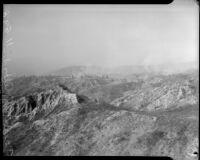 Landscape of forest fires burning in Altadena, California, October 1935