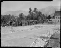 Workers line up for food during forest fire, Altadena, California, October 1935