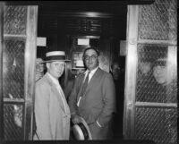 Lawyer Erwin P. Werner in elevator, October 1935