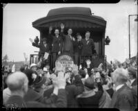 Members of Southern California Townsend club start trip to national convention, October 21, 1935