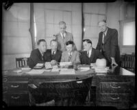 Frank McLaughlin, C.J. Haggerty, Marvin Hart, Col. Donald H. Connolly, George D. Hammond, circa 1937