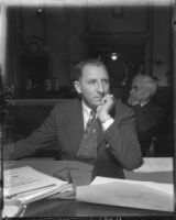 Los Angeles County District Attorney Buron Fitts in coutroom, circa 1935
