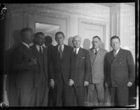 Harry Hopkins meets with local relief leaders, Los Angeles, October 1, 1935