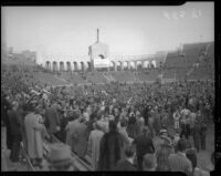 Crowd at the Coliseum for a football match between UCLA and USC, Los Angeles, 1935