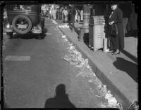 Unswept streets, Los Angeles, circa 1935