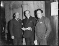 Jerome Sears, Frank Walker, and Frank McLaughlin at meeting of California aid agency, Los Angeles, November 1935