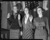 Student teachers at UCLA take pledge of allegiance to the flag, circa 1935