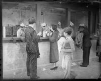 Spectators at Los Angeles Memorial Coliseum concession stand, circa 1935