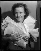 Alice Biner with unknown letters, circa 1935