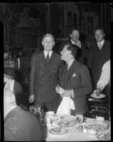 US Senator William McAdoo with George Creel at unknown event, circa 1935