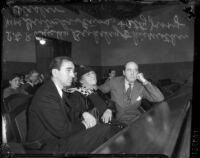 Busby Berkeley, mother, and lawyer Jerry Giesler in courtroom for Berkeley's vehicular manslaughter trial, Los Angeles, California, 1935