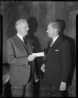 State Senator Culbert L Olson meets with Robert Riddell